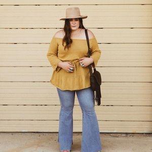 Listicle Yellow Off The Shoulder Sweater Tunic